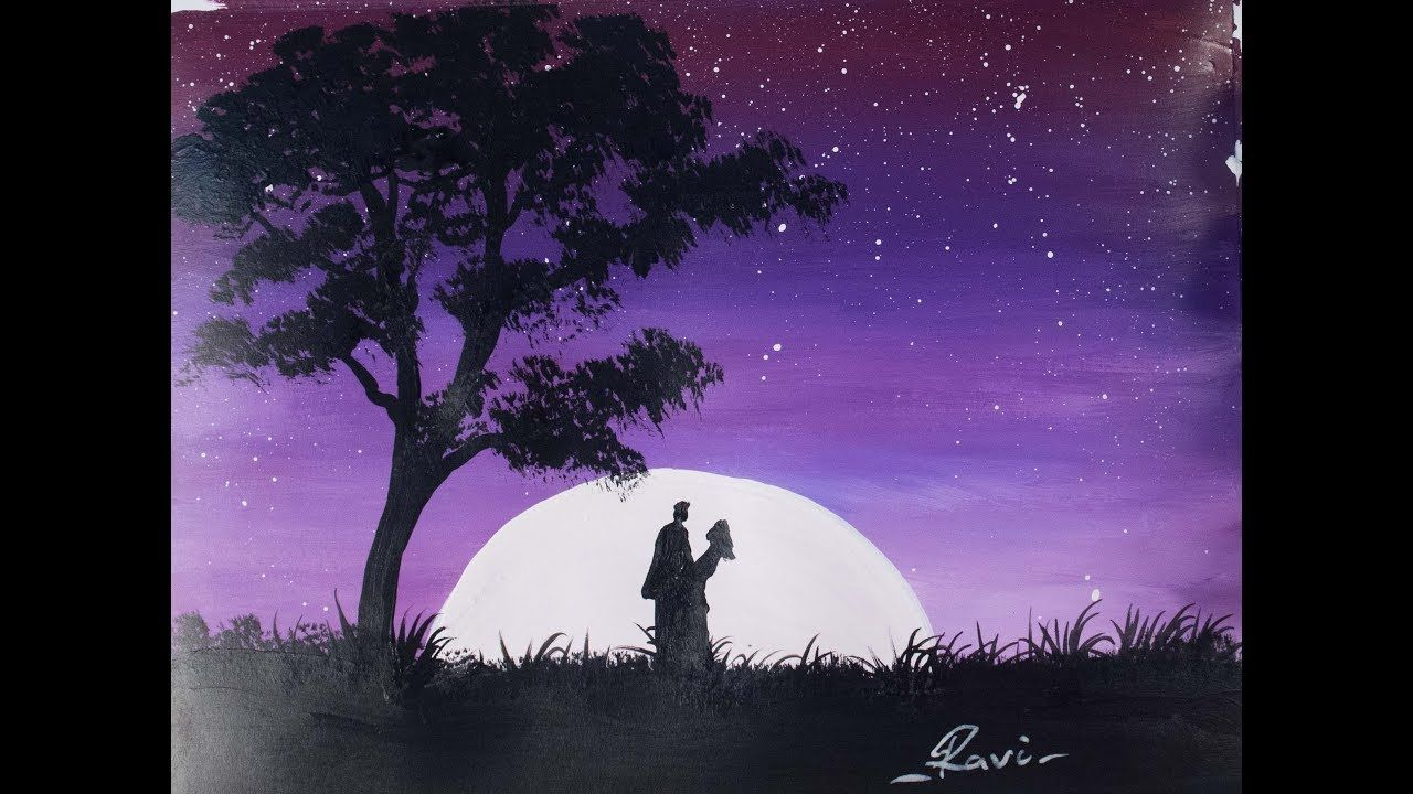 Beginner Acrylic Tutorial Couple In Love Painting Youtube Painting Love Couple Silhouette Painting Canvas Painting