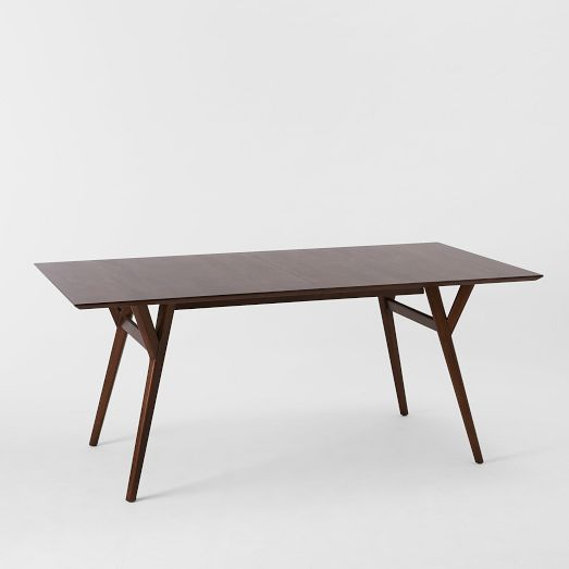 """Expandable Kitchen Table mid-century expandable dining table, 39"""" to 55"""", walnut"""