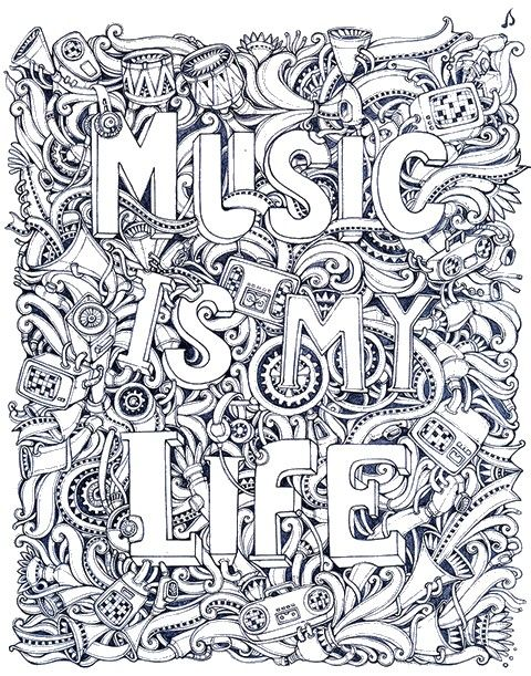 Free Printable Difficult Grown Up Coloring Pages Music Beautiful Drawings Adult Drawing Creative Leisure