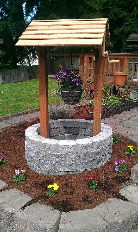 Wishing well; definitely nice to put in the front yard for visitors to  donate! - Wishing Well, I Can Do This With My Leftover Rock From Facing My