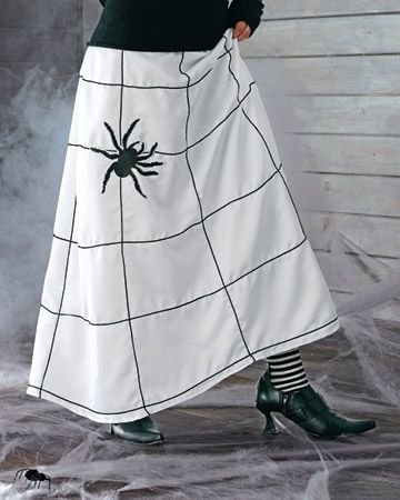 Another pinner said...I took this idea, got a white skirt at the Salvation Army and then used fabric paint to paint spider webs on it. People love it!