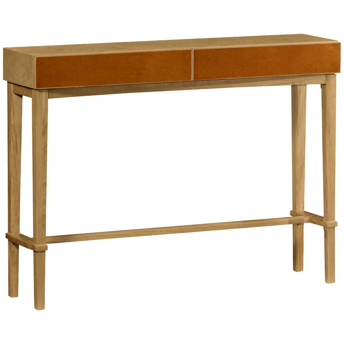 Jonathan Charles Architectural Console Table With Drawers In Leather
