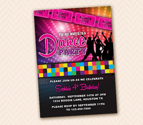 Custom Dance Birthday Party Invitation Design DIY Printable