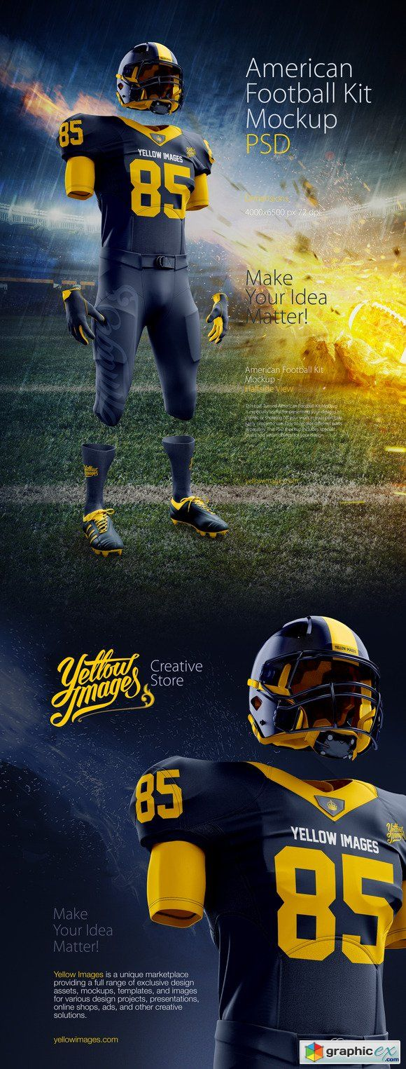 Download American Football Kit Mockup (con imágenes) | Camisetas ...