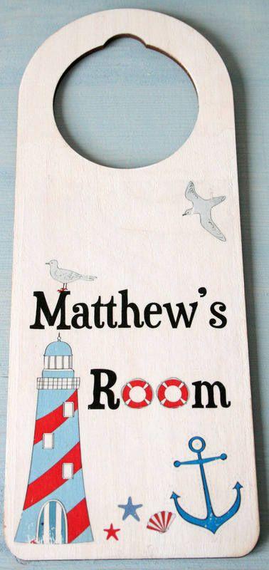 personalised boys #seaside door hangers uk http://www.gemmajanedesigns.co.uk