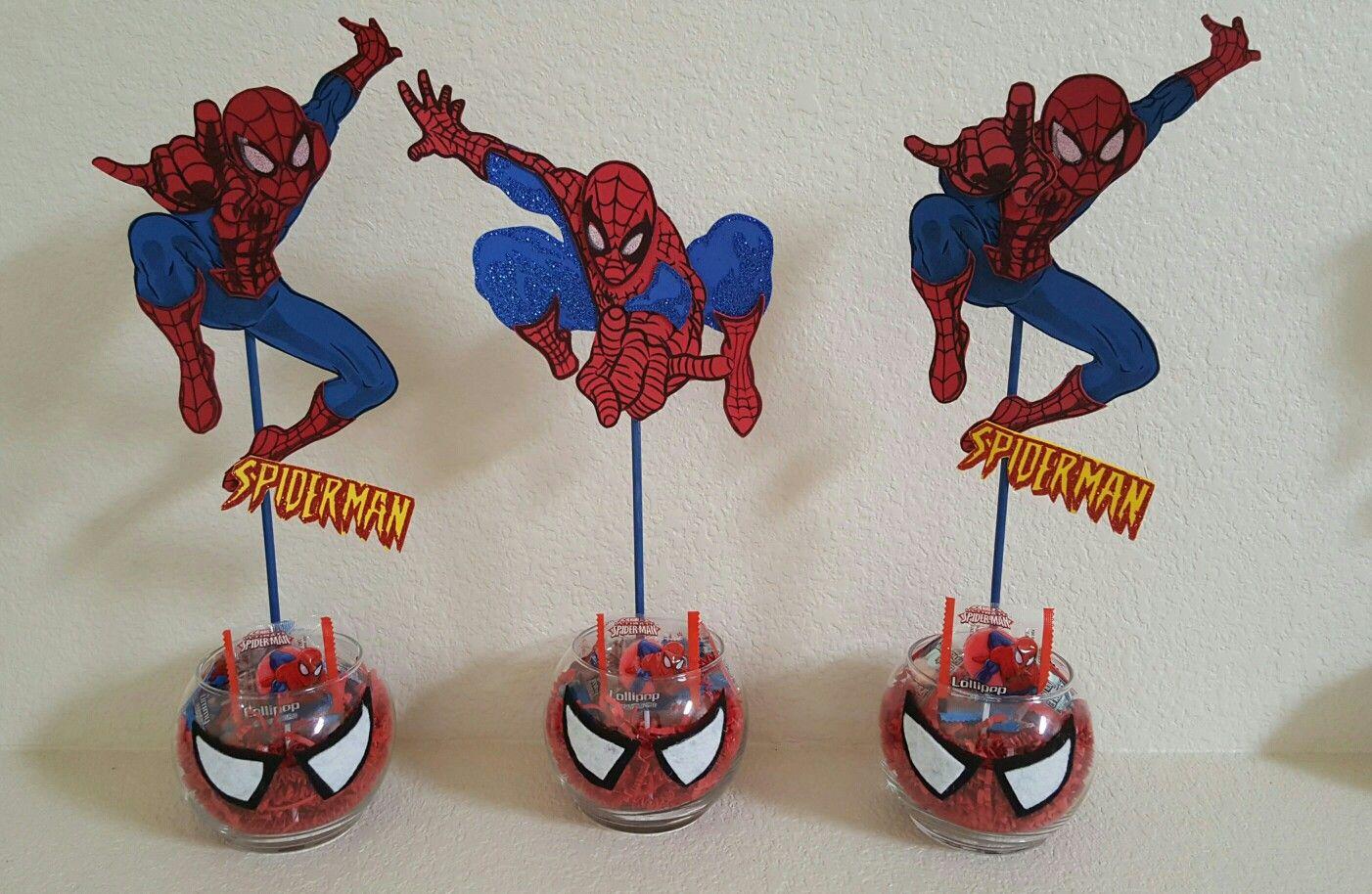 Spiderman centerpieces ideas para tu fiesta for Cuartos decorados hombre arana