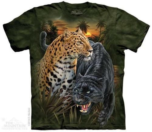 72be6bdf Two Jaguars Black Panther Cat T Shirt The Mountain Adult Tee S-3XL 4XL 5XL  #TheMountain #GraphicTee