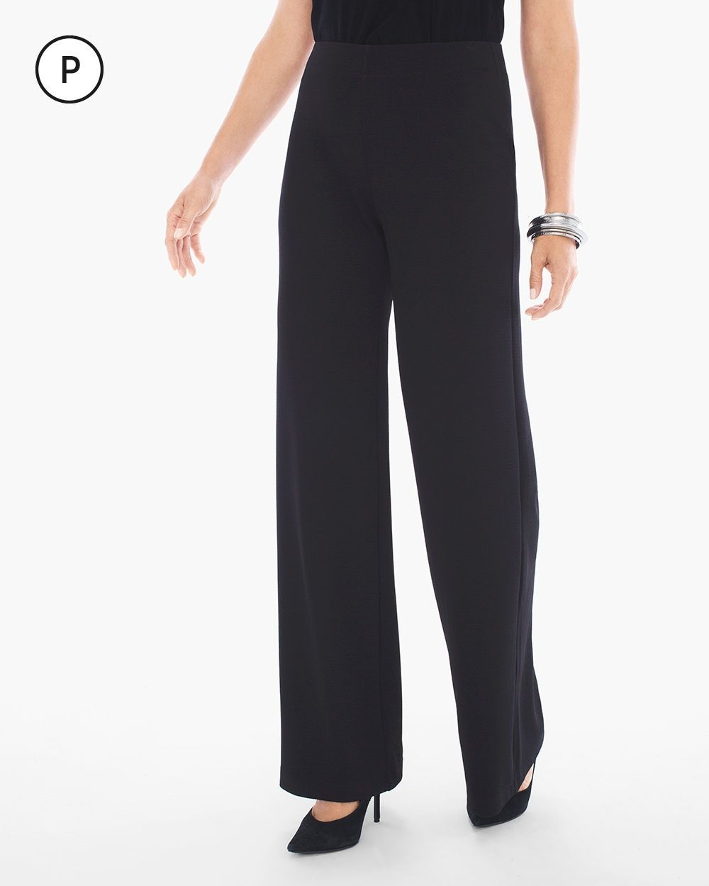 3807382a44 Chico s Women s Travelers Collection Petite Textured Wide-Leg Pants ...