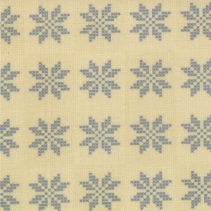 Nature�s Basket - blue cross-stitch small snowflake motif on cream  2722-24