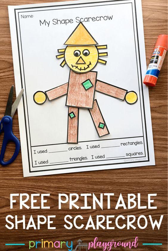 Free Printable 2D Shape Scarecrow #scarecrow #2dshapes #kindergarten #preschool #kindergartenmath