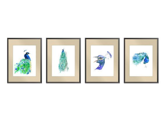 "SALE -20% SET of four Art  Peacock Watercolor Painting, Art Print Paper size: 8""x10"" (20,32x25,4cm)"