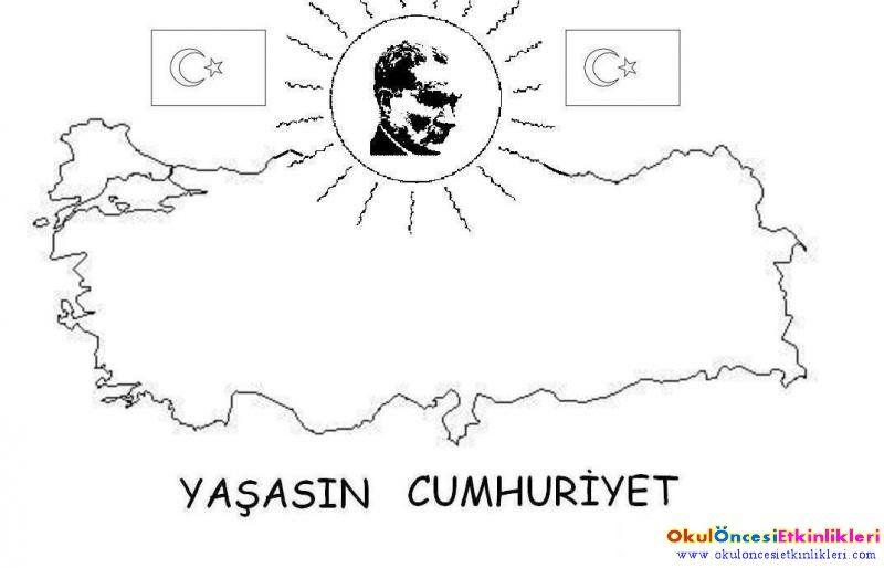 Cumhuriyet Bayramı Için Boyama Sayfası Atam Mustafa Kemal Atatürk