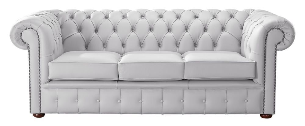 Details About Modern Leather Chesterfield Handmade 3 Seater Sofa Settee Shelly Seely White White Chesterfield Sofa Settee Sofa Leather Chesterfield