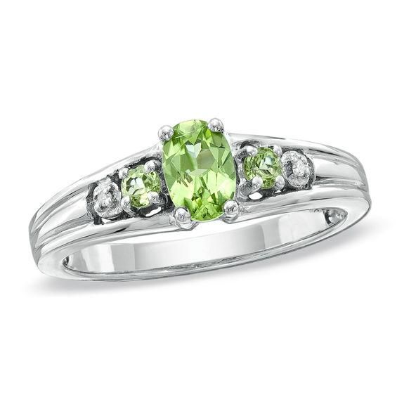 Zales Oval Lab-Created Emerald and Peridot Three Stone Ring in Sterling Silver RMHaSm1