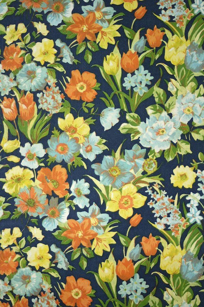 1960s Vintage Floral Wallpaper Vintage floral wallpapers