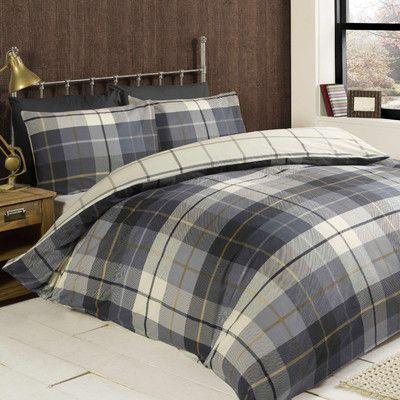 Check Brushed Cotton 150 Tc Duvet Cover Set Duvet Bedding Sets Blue Bedding Sets Flannelette Bedding