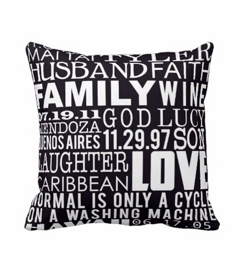 Typography word art on pillow customized home decor pinterest