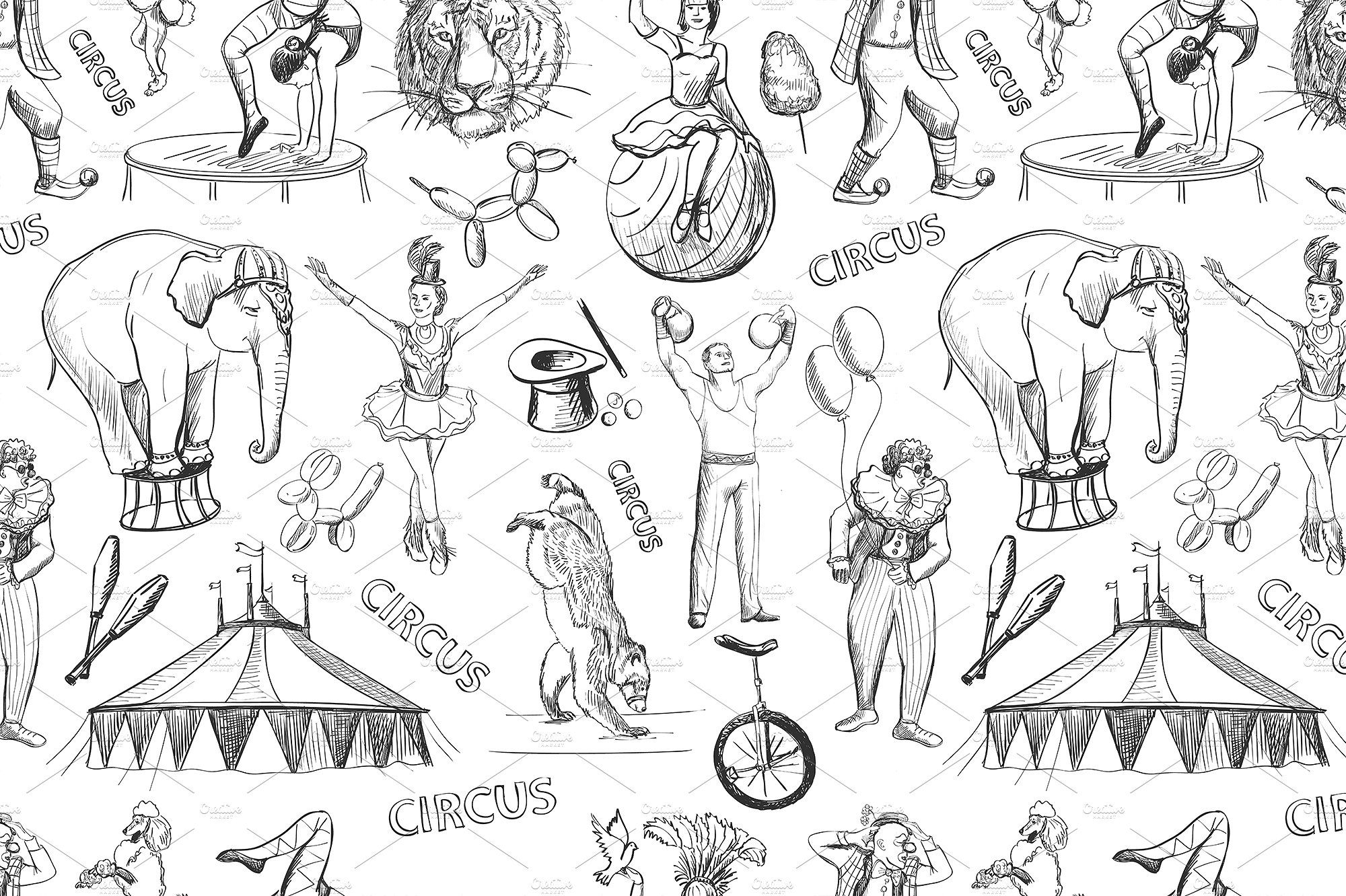 Sketch circles seamless pattern (With images) Sketches