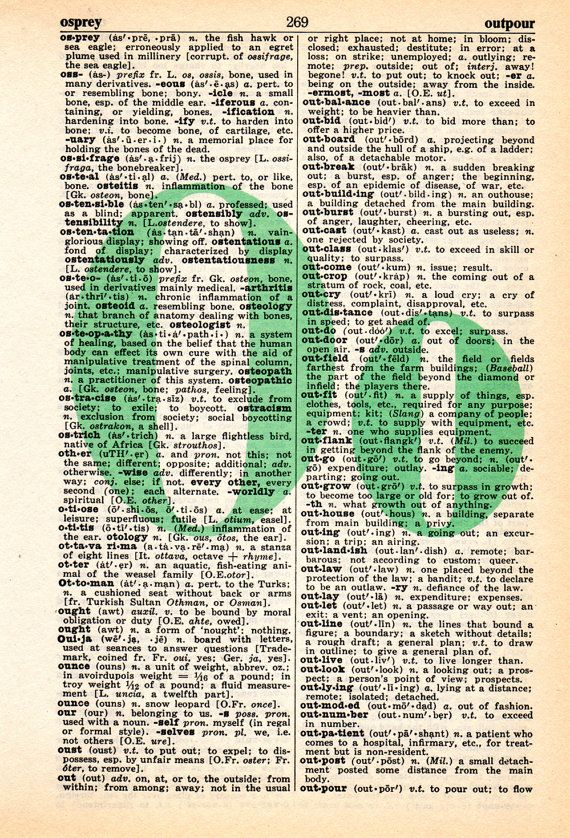 Repurposed Dictionary Art...O by SimpleeSaid on Etsy, $4.50