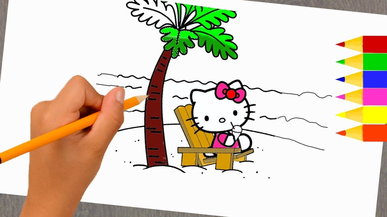 How To Draw And Paint Hello Kitty On The Beach On Summer Vacation Coloring Pages For Girls