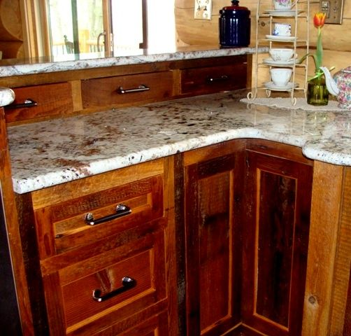 Best Dads Cabin Reclaimed Barn Wood Kitchen Cabinets Cocinas 400 x 300