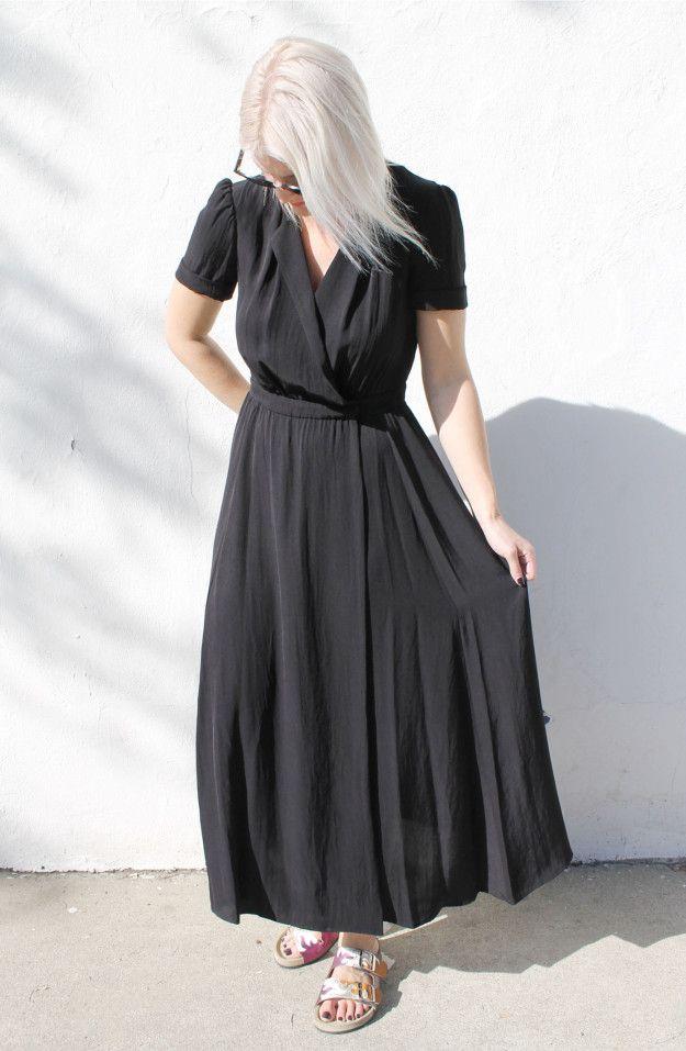 Meet the Flore Dress in Black ($590.00). This long and sleek dress is an essential for your spring days around town. #dianiboutique #isabelmarantetoile