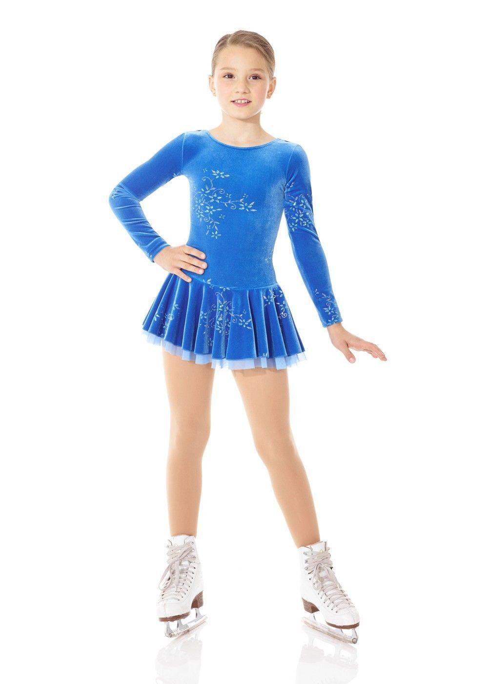 New Mondor Blue Velvet Ice Figure Skating Dress 2747 Forget MI Size Child 6  7  061f3f5b7c8cb