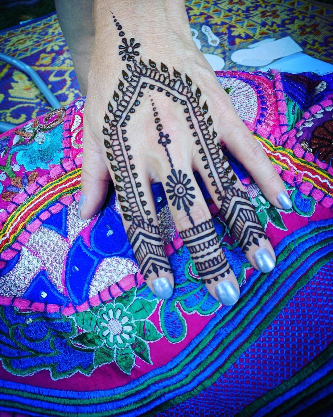 Had a great day at #fairfaxfestival yesterday and looking forward to another beautiful day today. Artists choice starts at $20 and we create something unique for you! #henna #mehndi #festivalfashion #musicfestival #hippie #peaceandlove