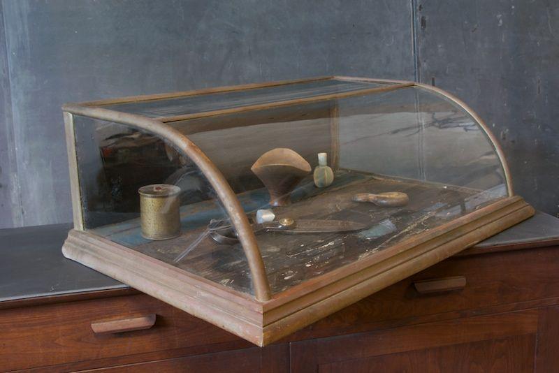 Humped Glass Nickel Display Case 20th Century Vintage Industrial Modern50 Style Modern Industrial Decor Decor Display Glass Display Case