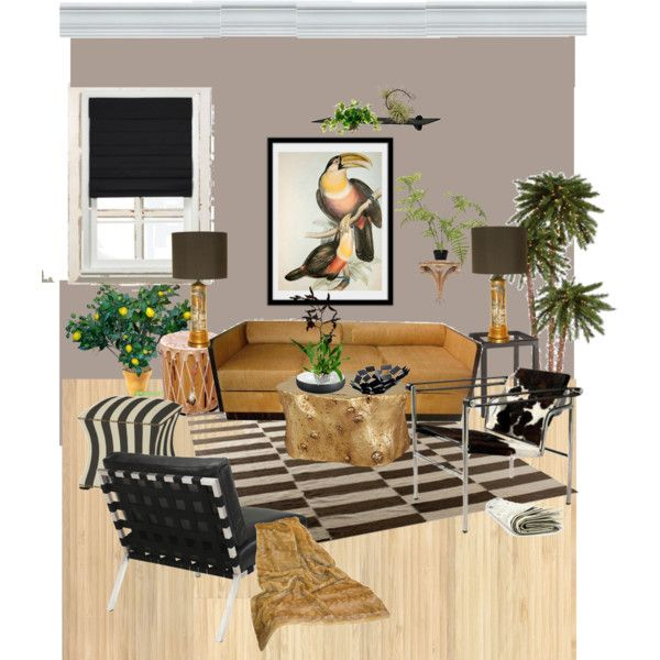 living room, tropical accent, ecclectic, created by kathy-martenson-sanko on Polyvore