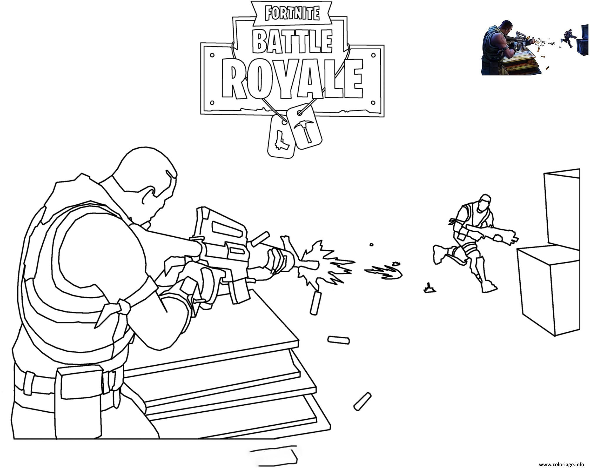 Coloriage Fortnite Scene Shooting Dessin A Imprimer Coloriage