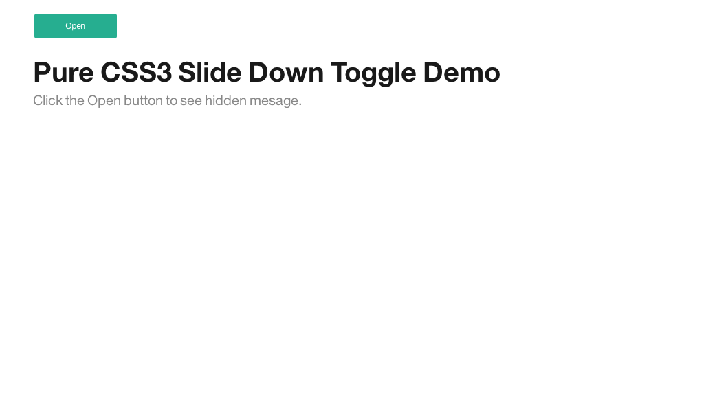 Pure CSS Slide Down Toggle    | interaction behavior | Pure