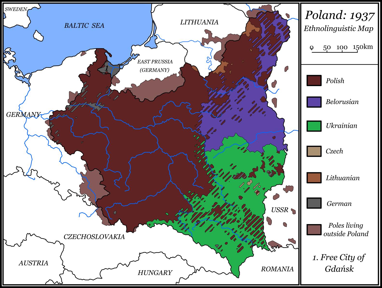 Polen Karte.Ethnolinguistic Map Of Poland 1937 Polen Illustrierte Karten
