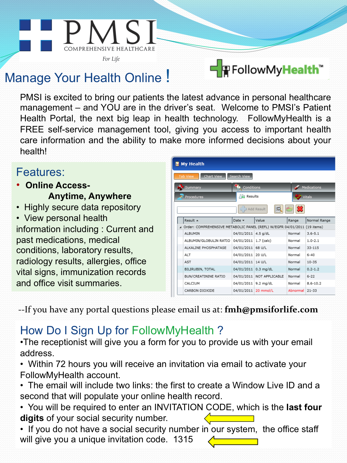 FollowMyHealth is PMSI's online patient health portal