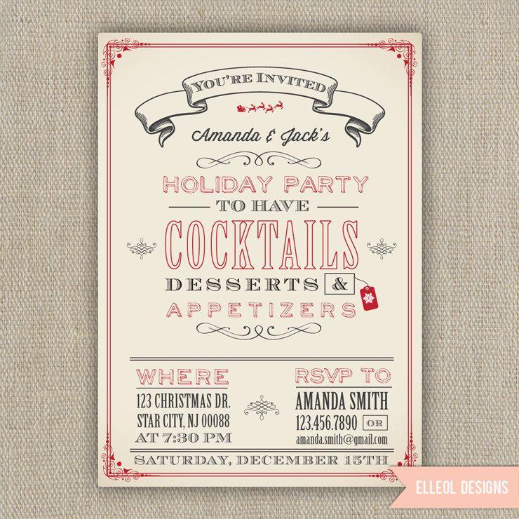 Christmas Holiday Party Invitation - Printed or DIY. $16.00, via ...