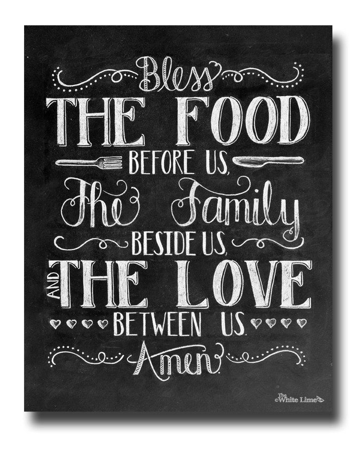 Kitchen Art, Dining Room Art, Bless The Food Before Us, Chalkboard