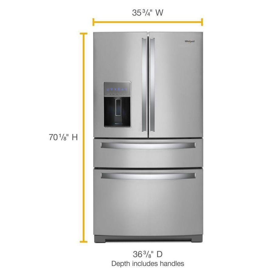 Whirlpool 26 2 Cu Ft 4 Door 36 In French Door Refrigerator With Exterior Drawer Fingerprint Resistant Stainless Steel Lowes Com French Doors French Door Refrigerator Refrigerator