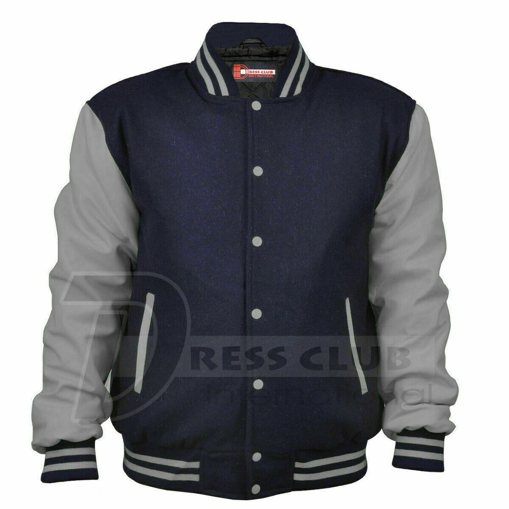 Varsity Jackets Navy Blue Body Light Gray Sleeves Letterman Boys College Jackets #DressClub #VarsityJacket #Casual #varsityjacketoutfit