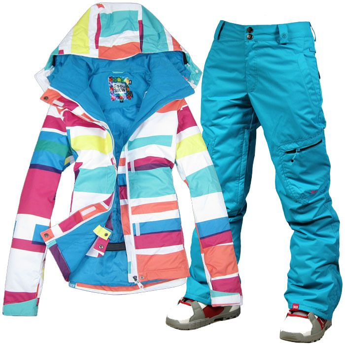 2014 womens ski snowboarding suit women ladies snow suit skiwear color bars  jacket and blue pants high quality free ship by EMS-in Jackets f. 32154d5eac