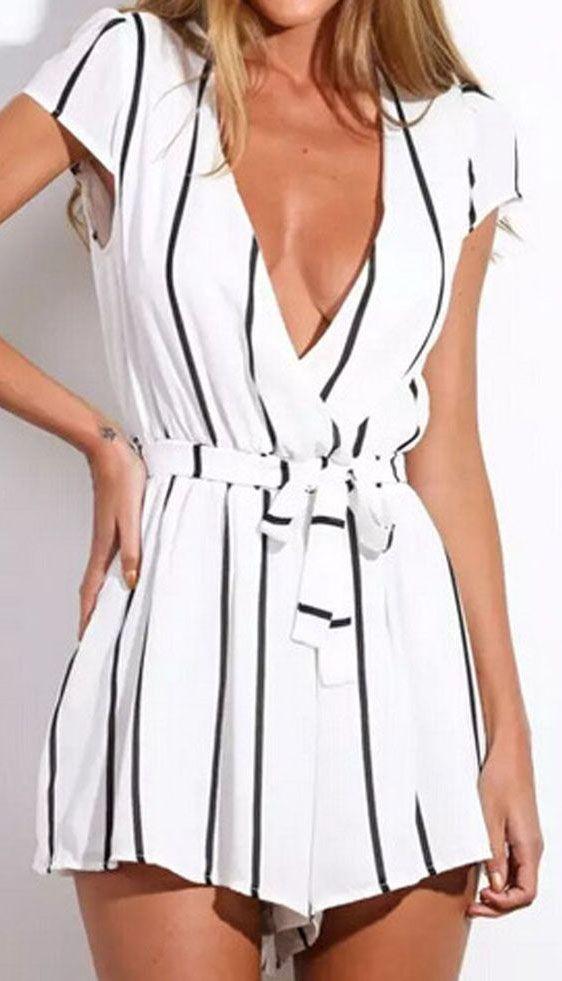 79e2021eabf White Stripe Deep v-neck Tie Waist Cap Sleeve Romper Playsuit ...