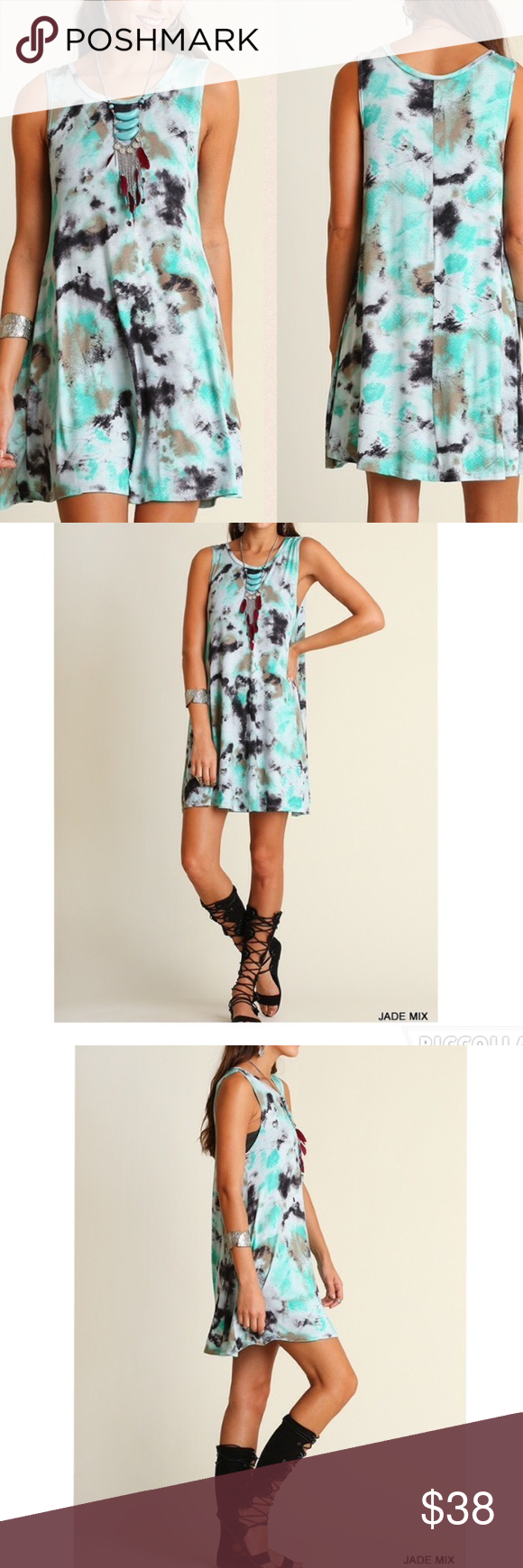 "ARRIVAL! Tie dye print sleeveless jade dress BRAND NEW Sleeveless tie dye swing dress  Non-sheer. Unlined. Lightweight. Material: 95% rayon, 5% spandex Comfortable, loose fit, flowing dress that's perfect for summer!   Measurements:  Small: Armpit to Armpit: 20"" Length: 34""  Medium: Armpit to Armpit : 21"" Length: 34.5""  Large: Armpit to Armpit: 21.5"" Length: 35"" Pink Peplum Boutique Dresses"