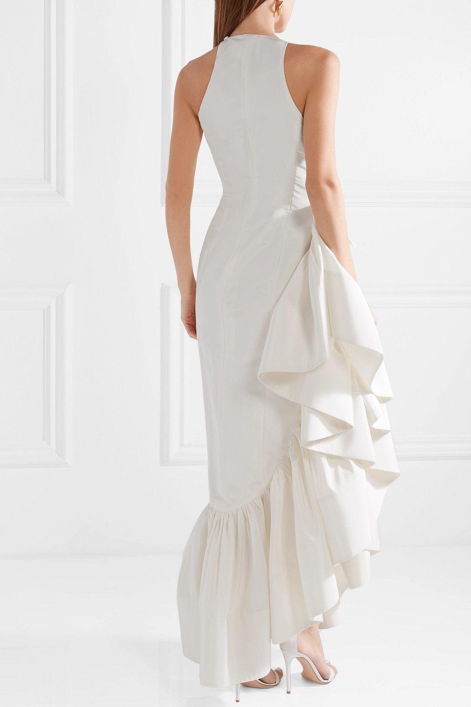 Whoopsy Daisy Asymmetric Ruffled Silk-charmeuse Gown - White Rosie Assoulin LVD9UWtYF