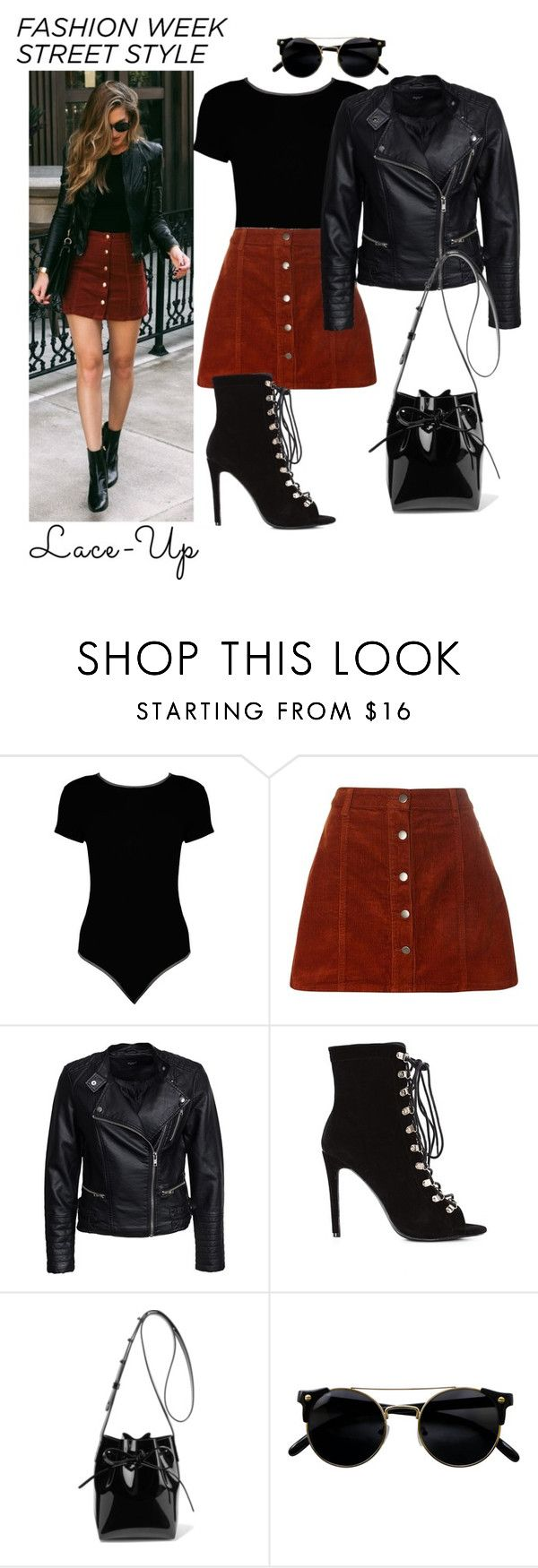 """Lace up"" by dudasouza04 ❤ liked on Polyvore featuring Boohoo, Dorothy Perkins, Sisters Point and Mansur Gavriel"