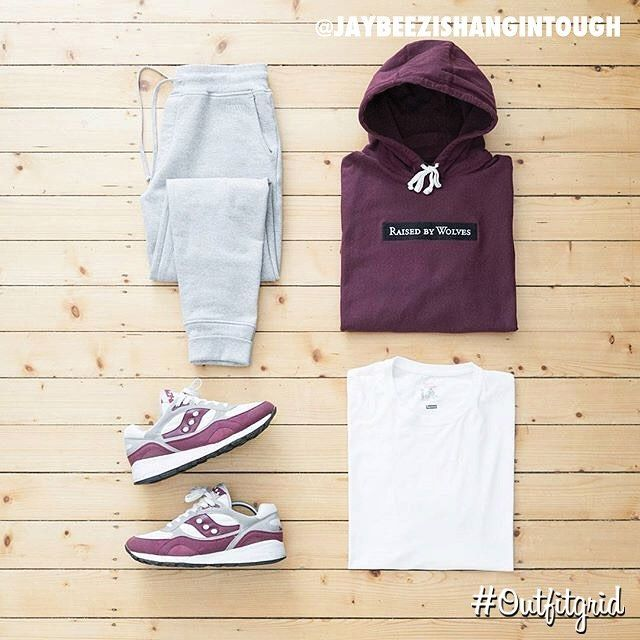 Today's top #outfitgrid is by @jaybeezishangintough. ▫️#RaisedByWolves #Hoodie & #Sweats ▫️#Supreme x #Hanes #Tee ▫️#AlifeRivingtonClub x #Saucony #Shadow6000