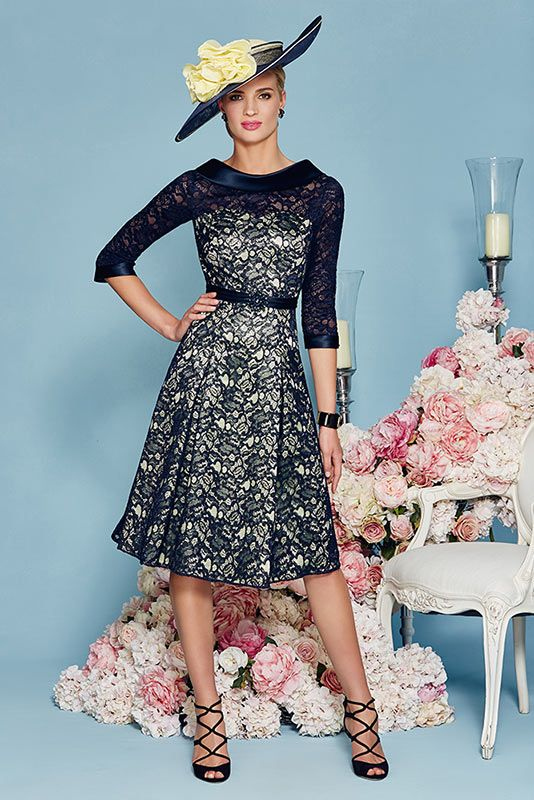 New is Ronald Joyce 991130 from their new Spring Summer 2016 collection. This is a stylish Mother of the Bride and Special Occasion dress in Navy/Lime.