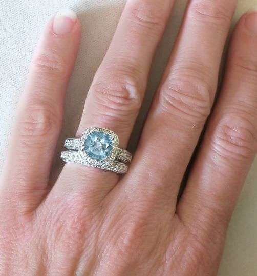 aquamarine engagement ring and diamond wedding bandawesomea - Aquamarine Wedding Ring