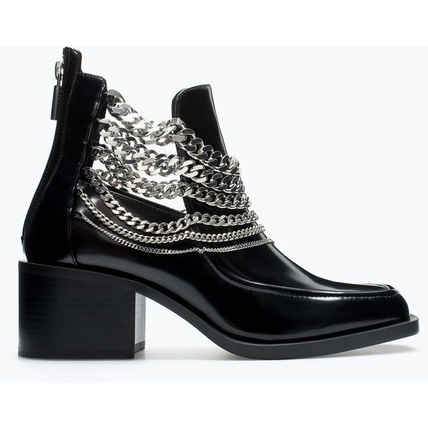 Zara Bootie With Chains (465 HKD) ❤ liked on Polyvore featuring shoes, boots, ankle booties, black, booties, schoenen, black booties, chain boots, bootie boots and black bootie boots