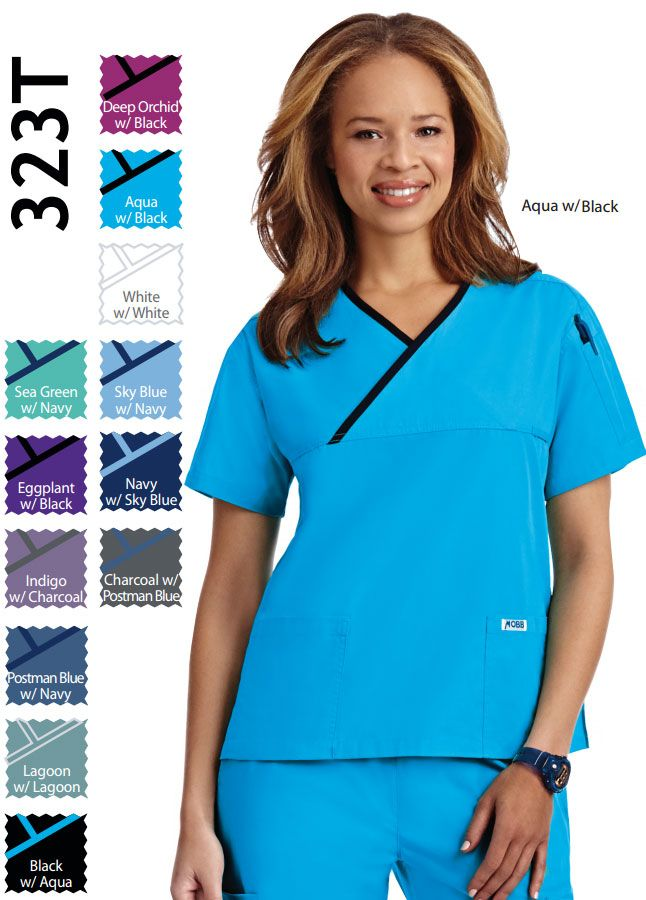 1a6f2ed8e94 323T- Criss Cross Ladies Scrub Top A simple twist on a classic style. A  v-neck scrub top with a criss cross contrast trim. This top features two  lower ...