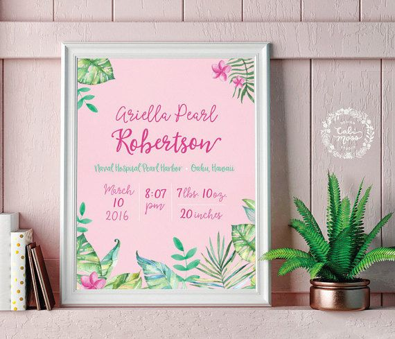 Personalized custom baby nursery pink tropical jungle hawaii personalized custom baby nursery pink tropical jungle hawaii flower artwork birth announcement baby wall art baby negle Gallery