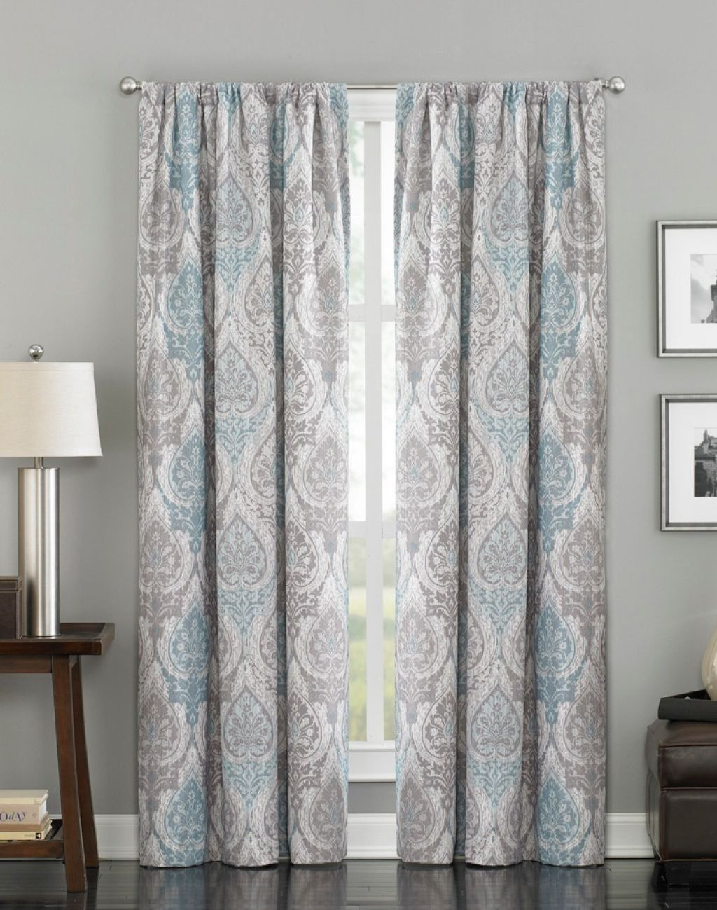 House Interior With Grey Walls And Modern Damask Curtains Stunning And Elegant Damask Curtains Curtains For Grey Walls Grey Walls Living Room Damask Curtains